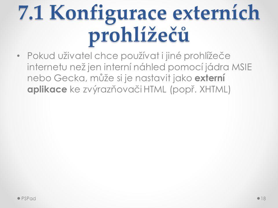 7.1 Konfigurace externích prohlížečů