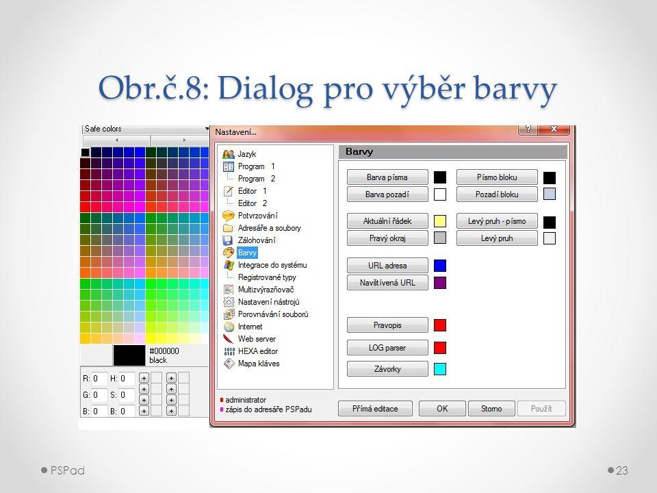 Obr.č.8: Dialog pro výběr barvy