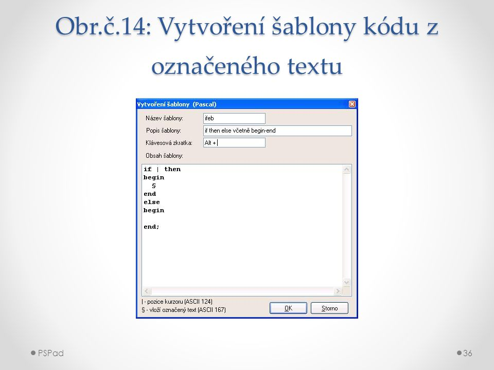 Obr.č.14: Vytvoření šablony kódu z označeného textu