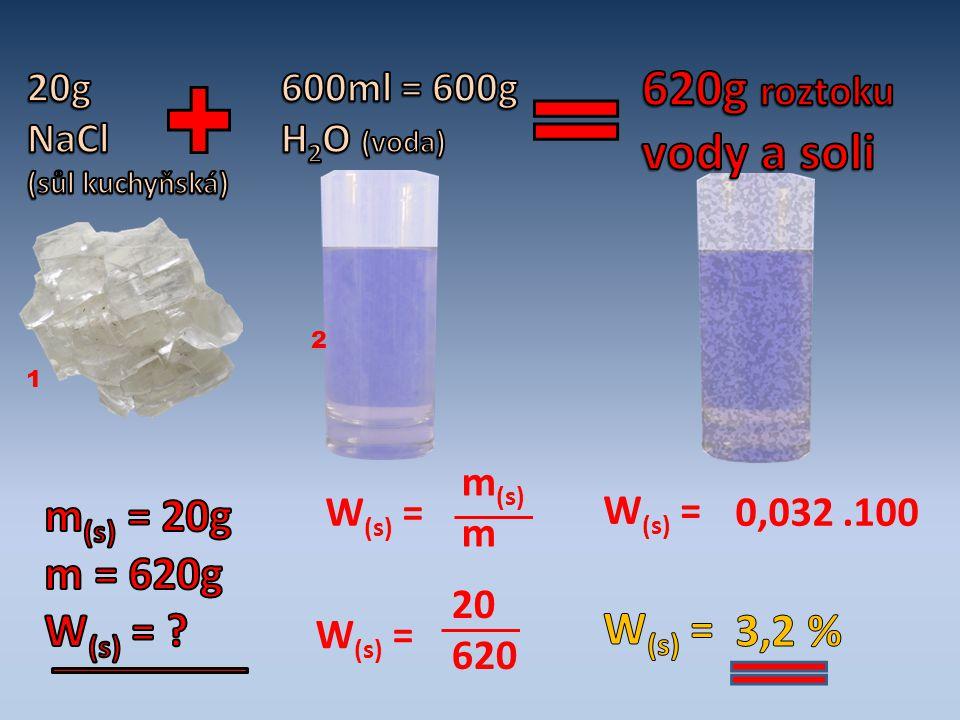 620g roztoku vody a soli m(s) = 20g m = 620g W(s) = W(s) = 3,2 %