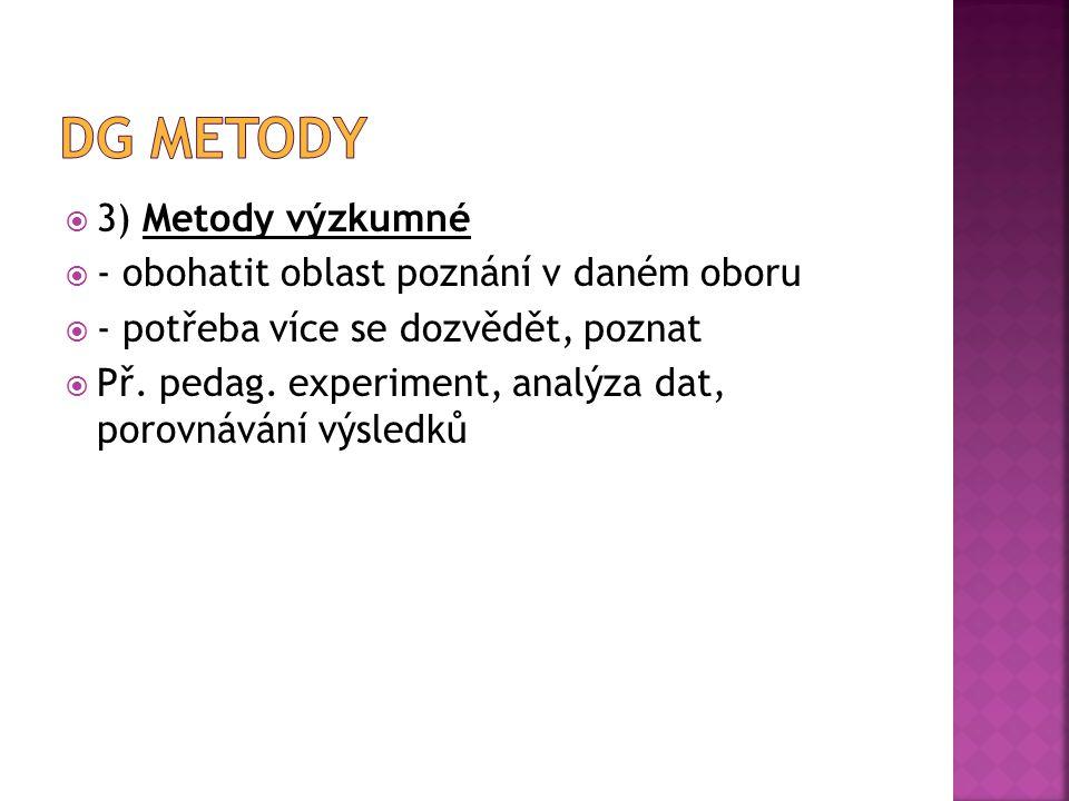 Dg metody 3) Metody výzkumné - obohatit oblast poznání v daném oboru