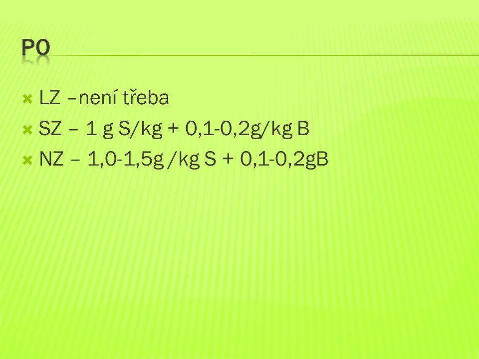 Po LZ –není třeba SZ – 1 g S/kg + 0,1-0,2g/kg B