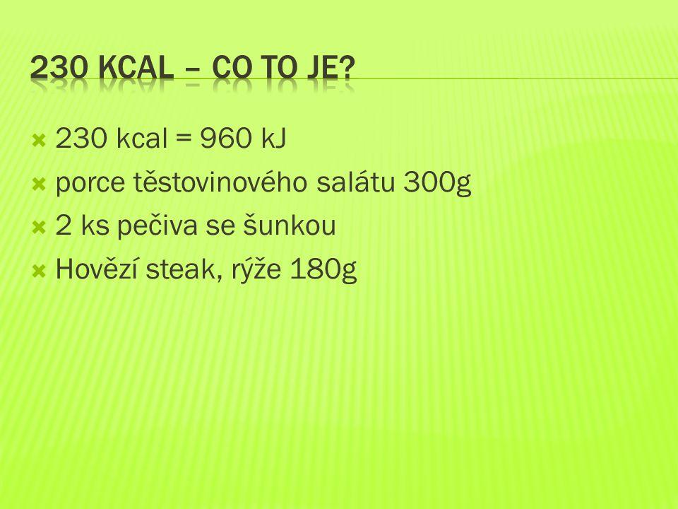 230 kcal – co to je 230 kcal = 960 kJ porce těstovinového salátu 300g