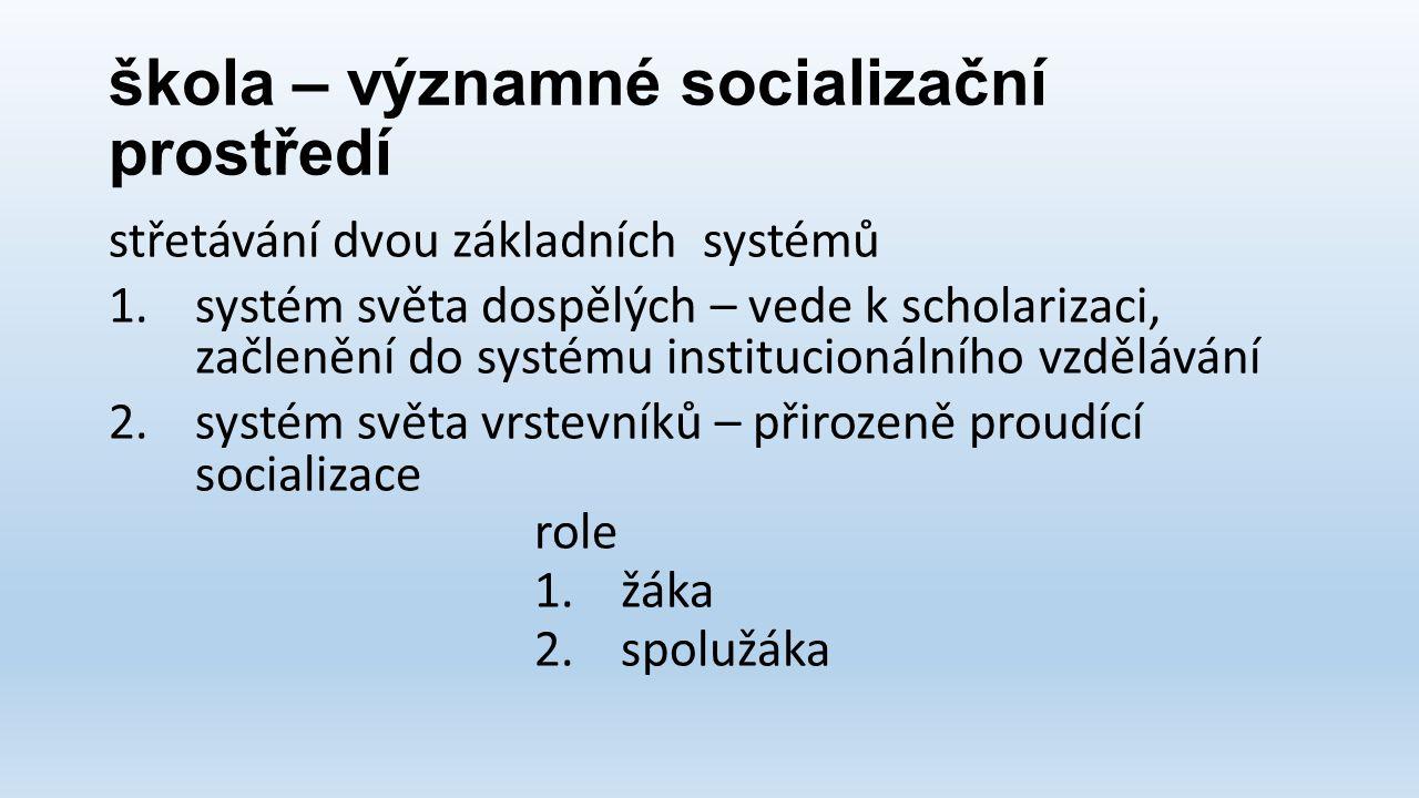 škola – významné socializační prostředí