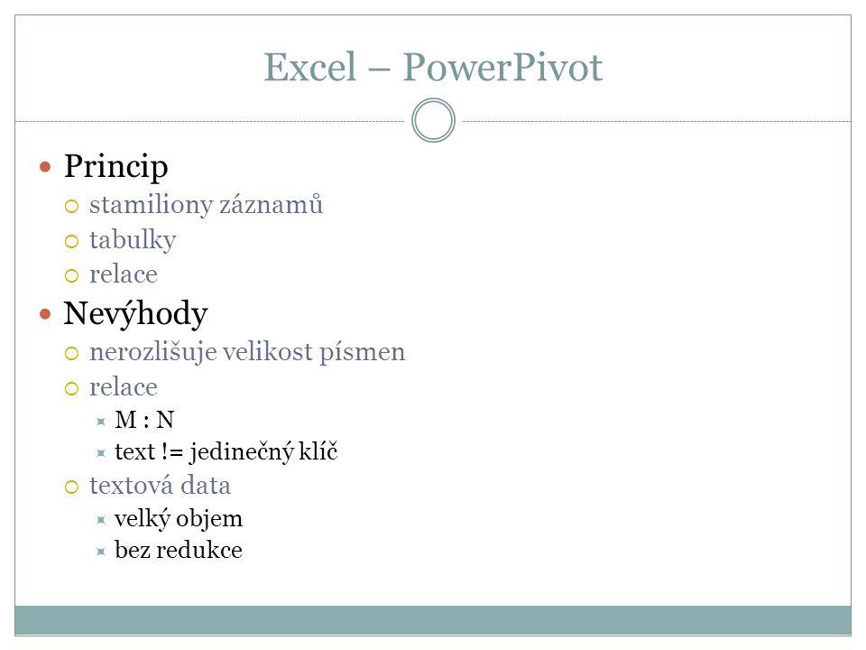 Excel – PowerPivot Princip Nevýhody stamiliony záznamů tabulky relace