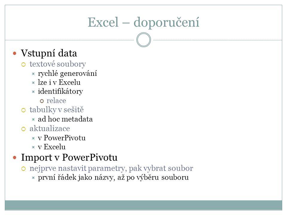 Excel – doporučení Vstupní data Import v PowerPivotu textové soubory