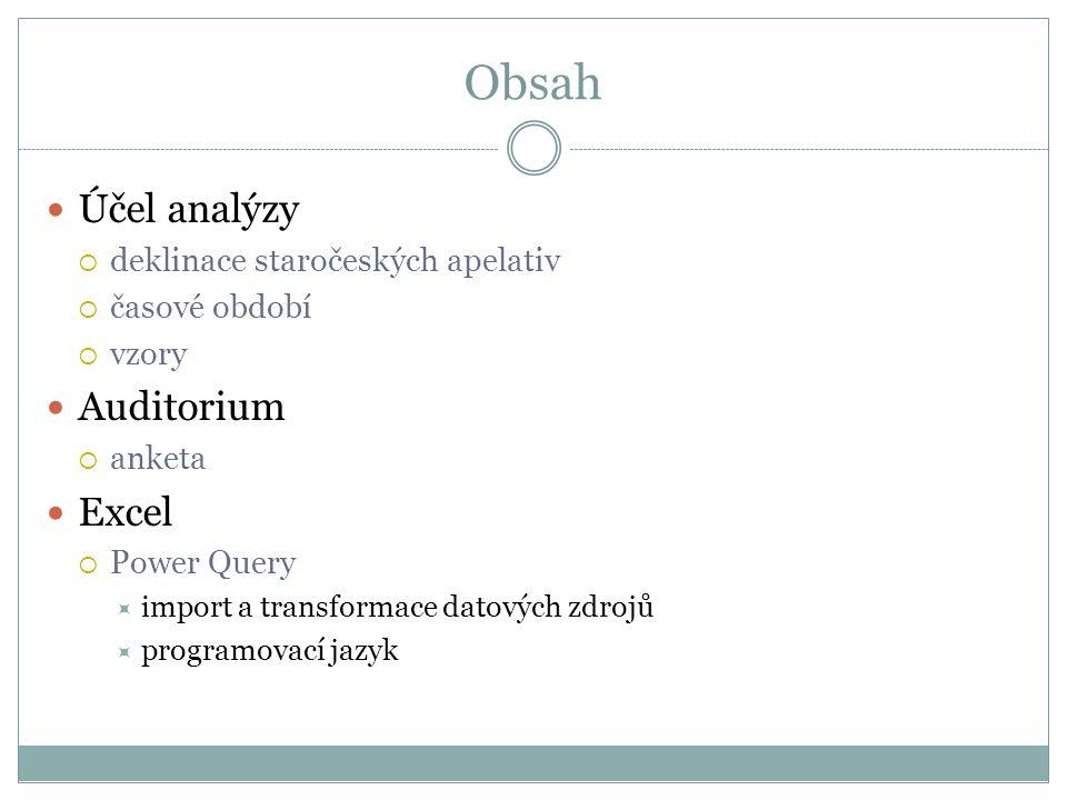 Obsah Účel analýzy Auditorium Excel deklinace staročeských apelativ