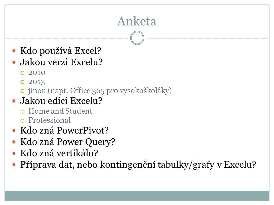 Anketa Kdo používá Excel Jakou verzi Excelu Jakou edici Excelu