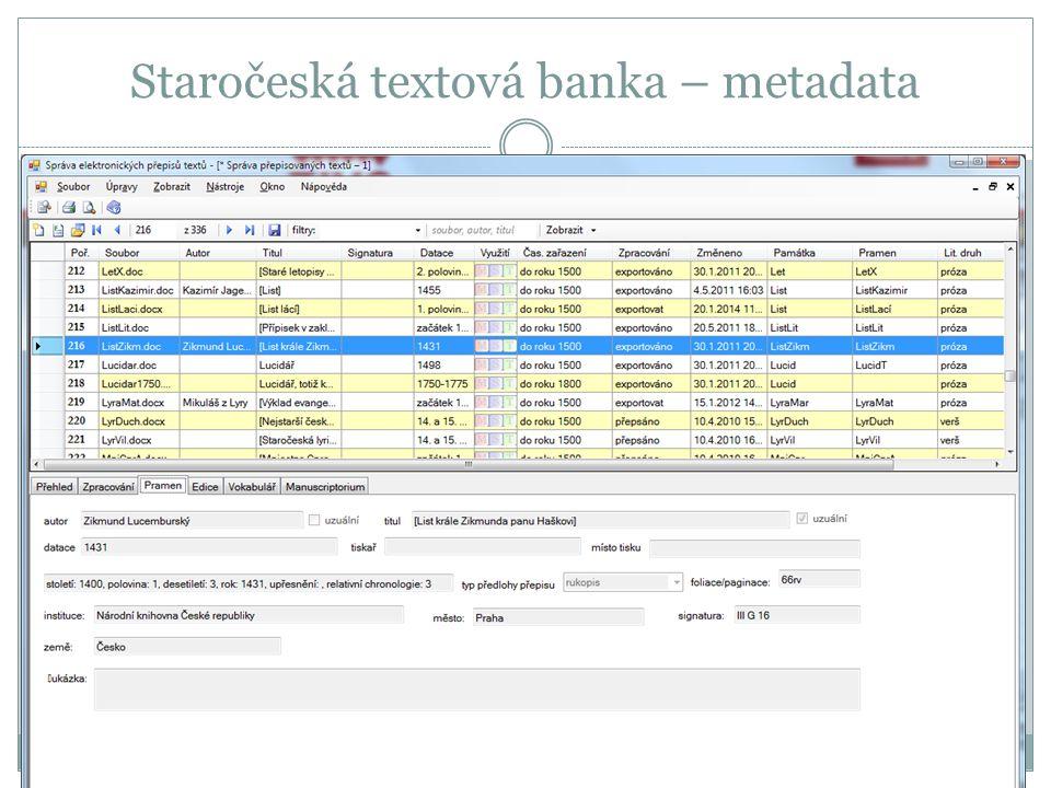 Staročeská textová banka – metadata