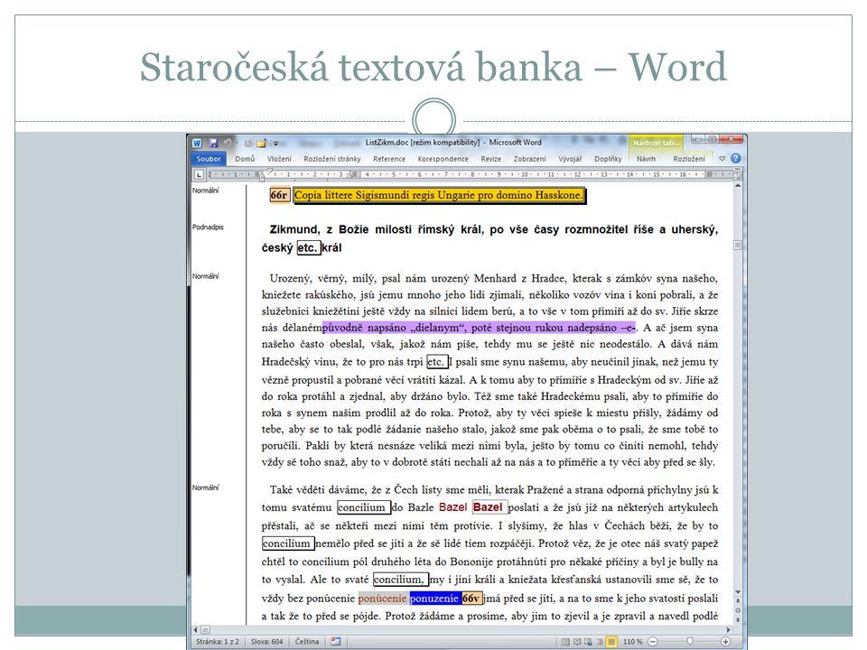 Staročeská textová banka – Word