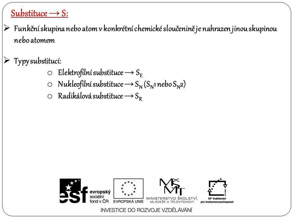 Substituce → S: Funkční skupina nebo atom v konkrétní chemické sloučenině je nahrazen jinou skupinou nebo atomem.