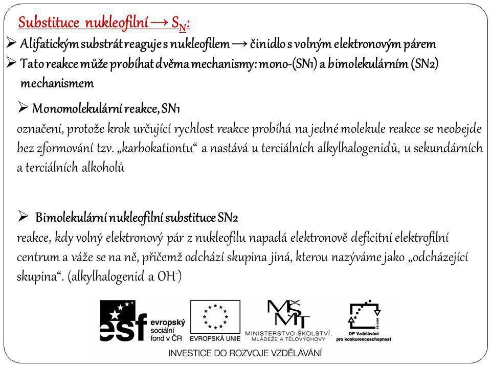 Substituce nukleofilní → SN: