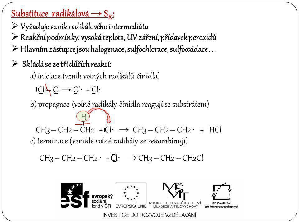 Substituce radikálová → SR: