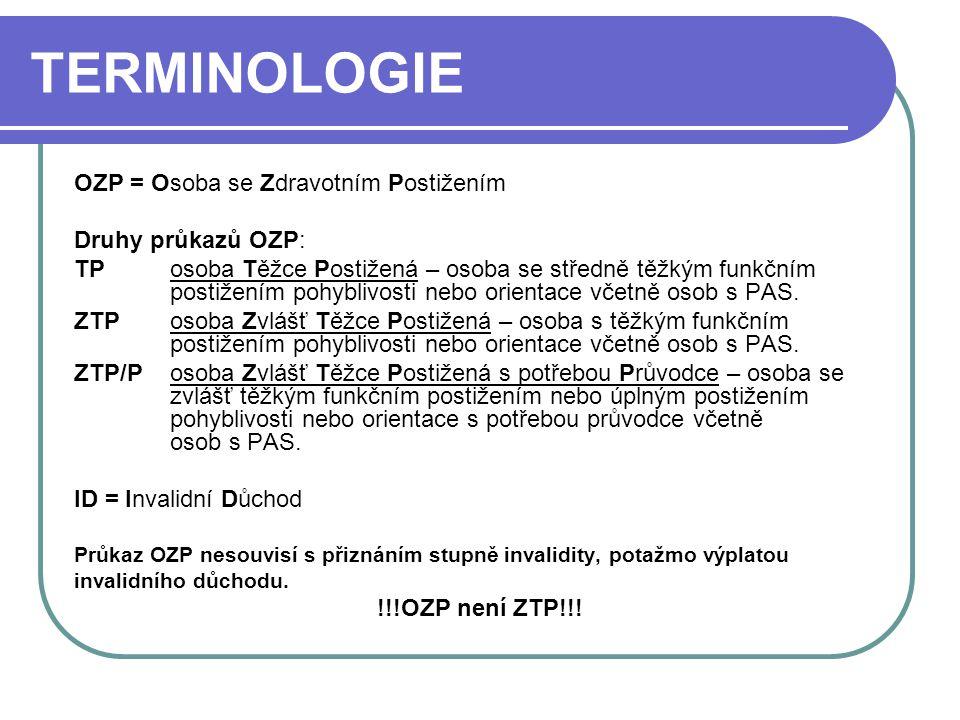 TERMINOLOGIE OZP = Osoba se Zdravotním Postižením Druhy průkazů OZP: