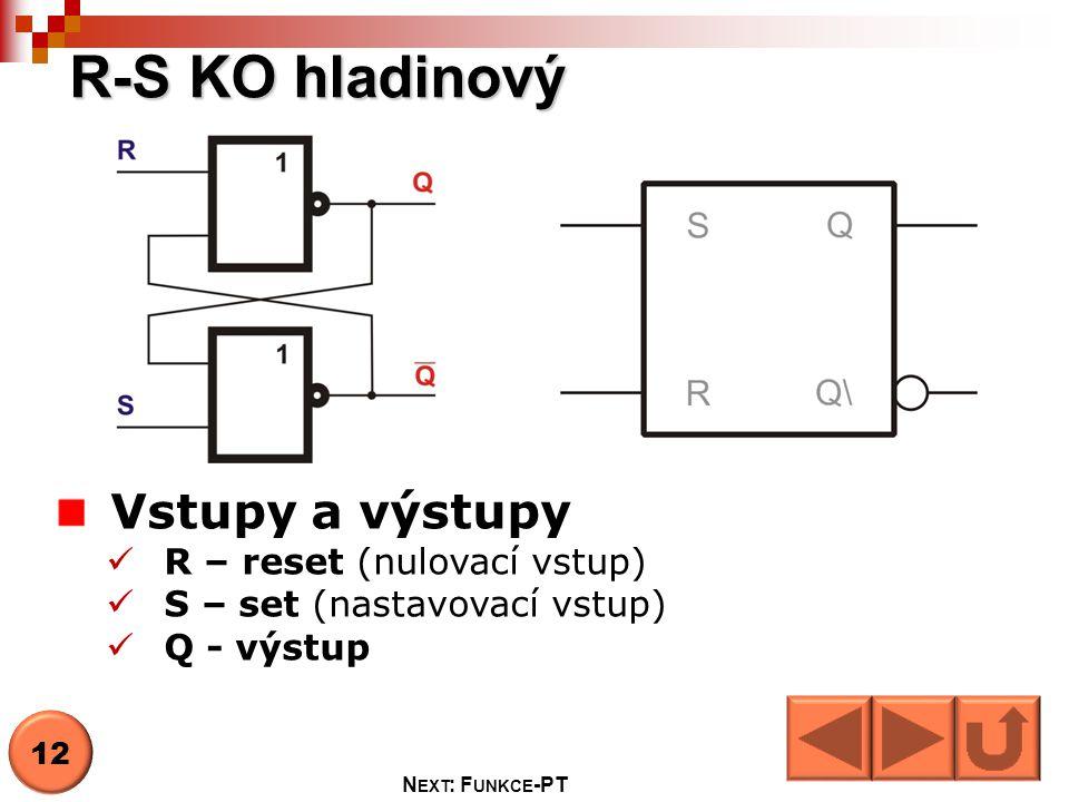 R-S KO hladinový Vstupy a výstupy R – reset (nulovací vstup)
