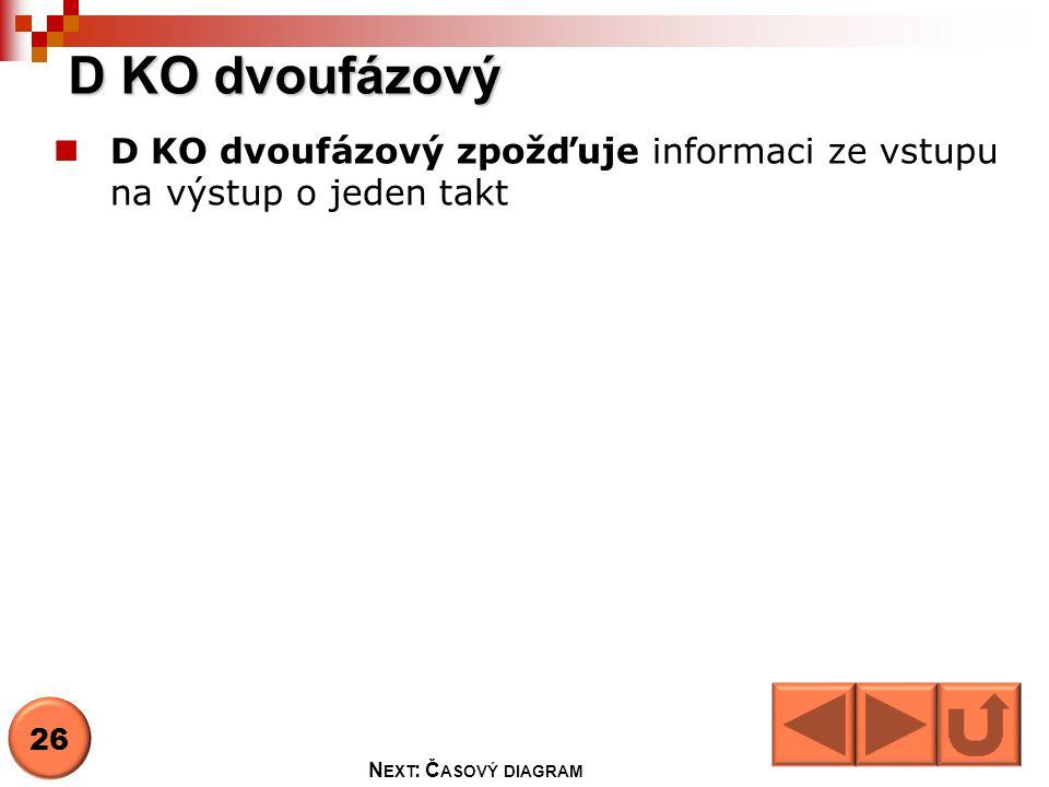 D KO dvoufázový D KO dvoufázový zpožďuje informaci ze vstupu na výstup o jeden takt.