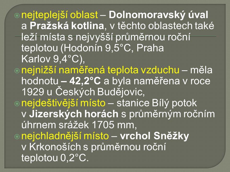 nejteplejší oblast – Dolnomoravský úval a Pražská kotlina, v těchto oblastech také leží místa s nejvyšší průměrnou roční teplotou (Hodonín 9,5°C, Praha Karlov 9,4°C),