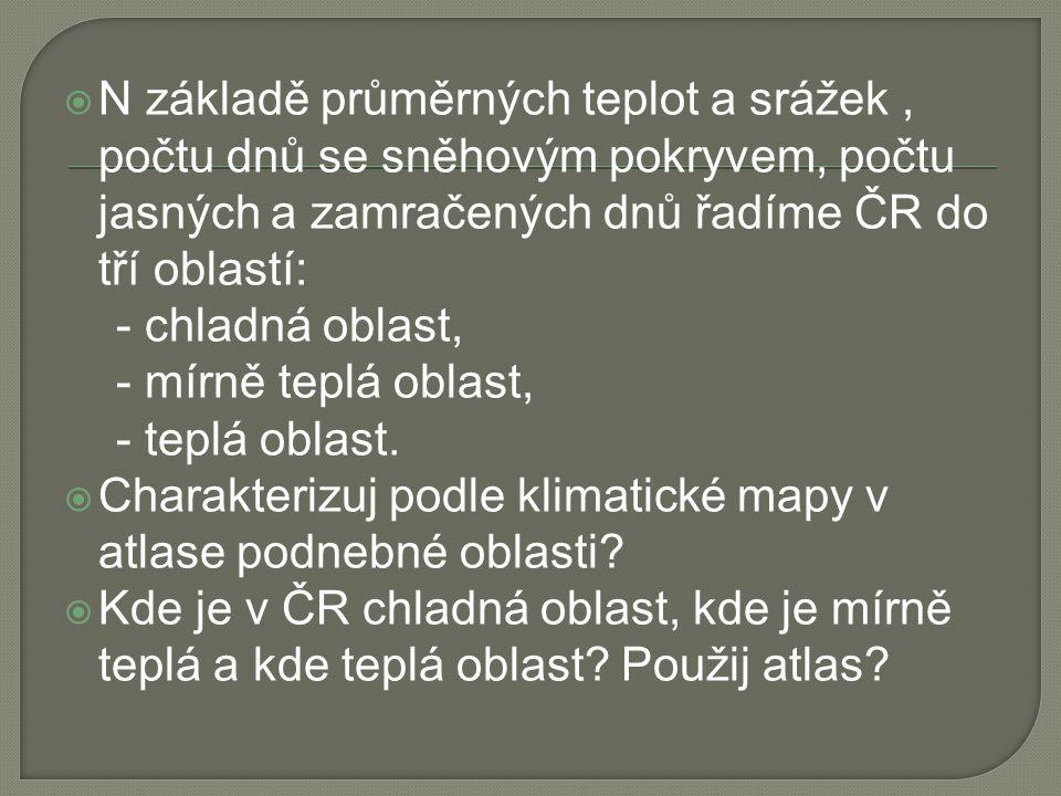 N základě průměrných teplot a srážek , počtu dnů se sněhovým pokryvem, počtu jasných a zamračených dnů řadíme ČR do tří oblastí: