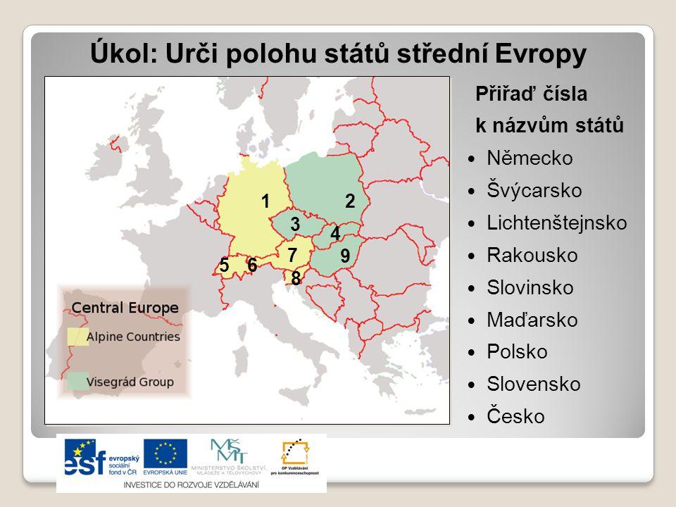 Úkol: Urči polohu států střední Evropy