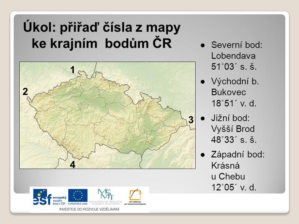 Úkol: přiřaď čísla z mapy ke krajním bodům ČR