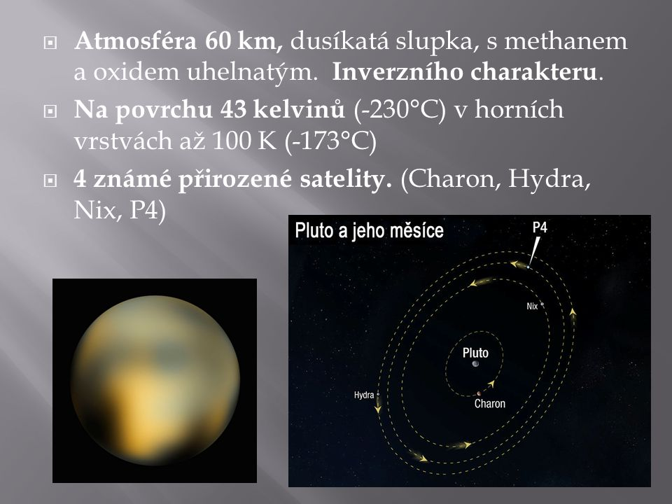 Atmosféra 60 km, dusíkatá slupka, s methanem a oxidem uhelnatým