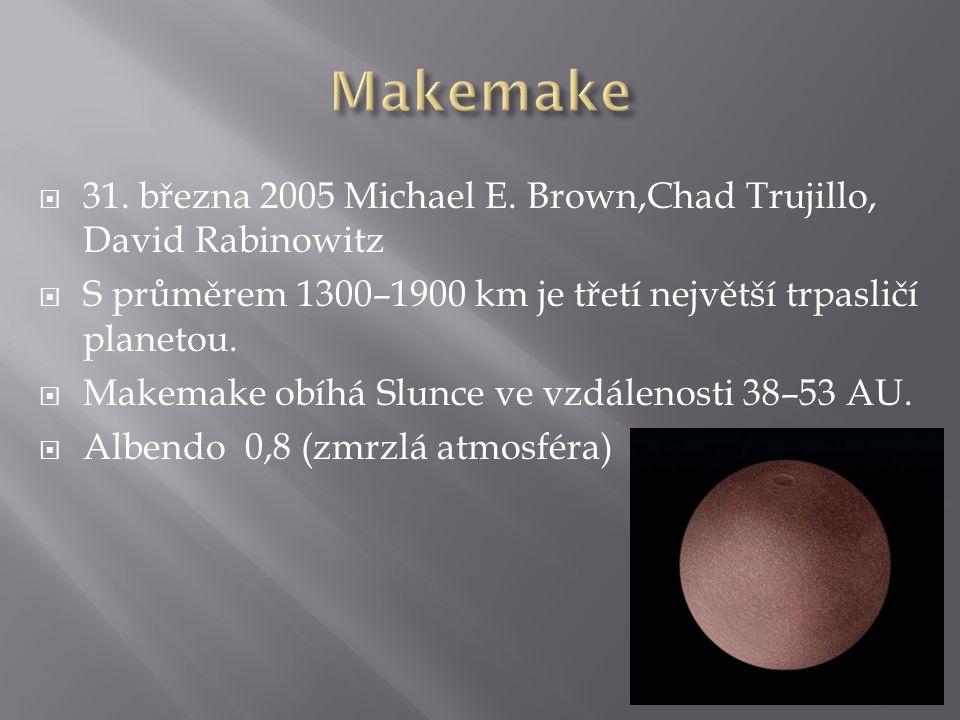 Makemake 31. března 2005 Michael E. Brown,Chad Trujillo, David Rabinowitz. S průměrem 1300–1900 km je třetí největší trpasličí planetou.