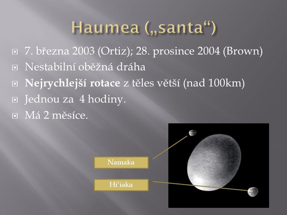 "Haumea (""santa ) 7. března 2003 (Ortiz); 28. prosince 2004 (Brown)"