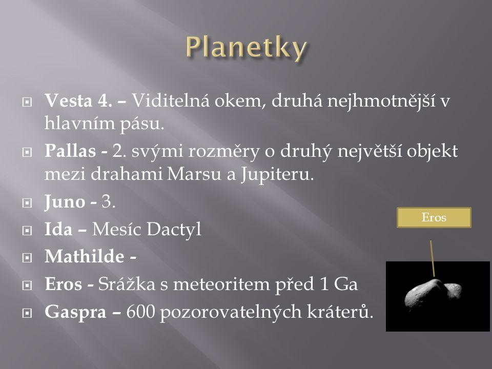 Planetky Vesta 4. – Viditelná okem, druhá nejhmotnější v hlavním pásu.