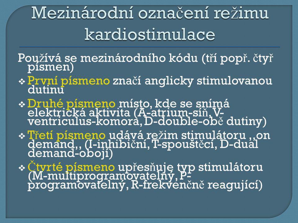Mezinárodní označení režimu kardiostimulace