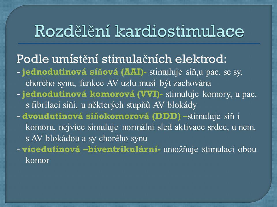 Rozdělění kardiostimulace