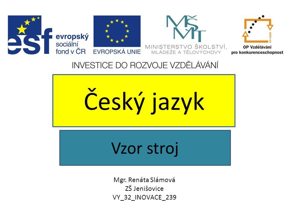 Český jazyk Vzor stroj Mgr. Renáta Slámová ZŠ Jenišovice