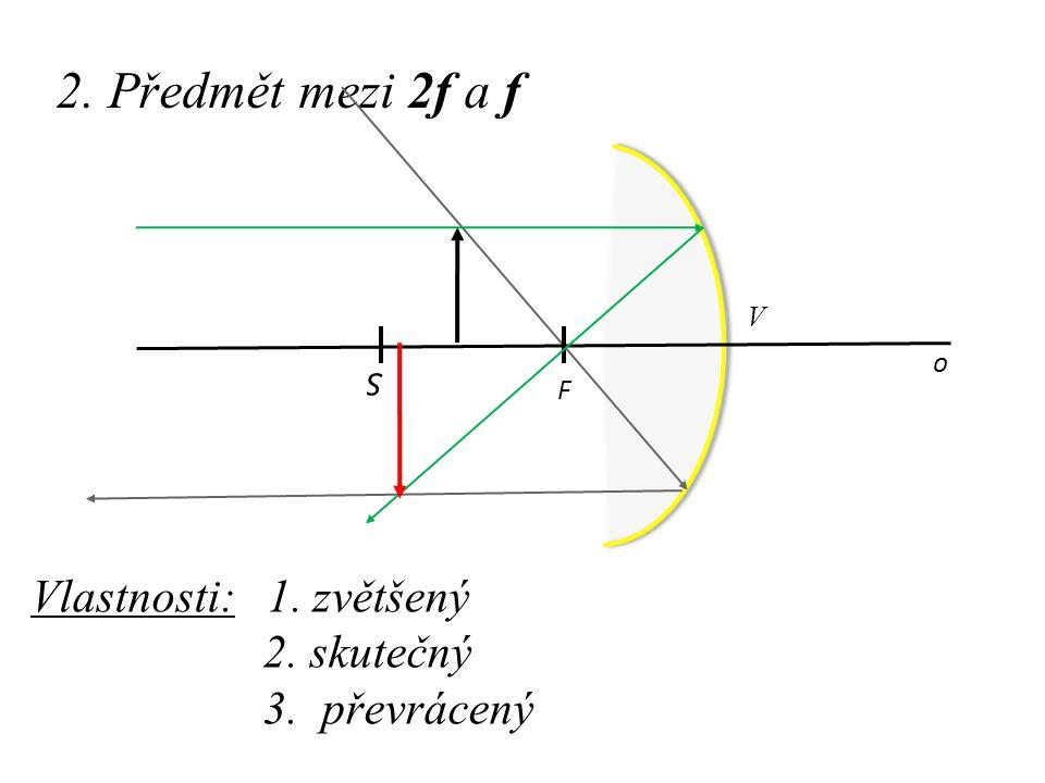 2. Předmět mezi 2f a f Vlastnosti: 1. zvětšený 2. skutečný