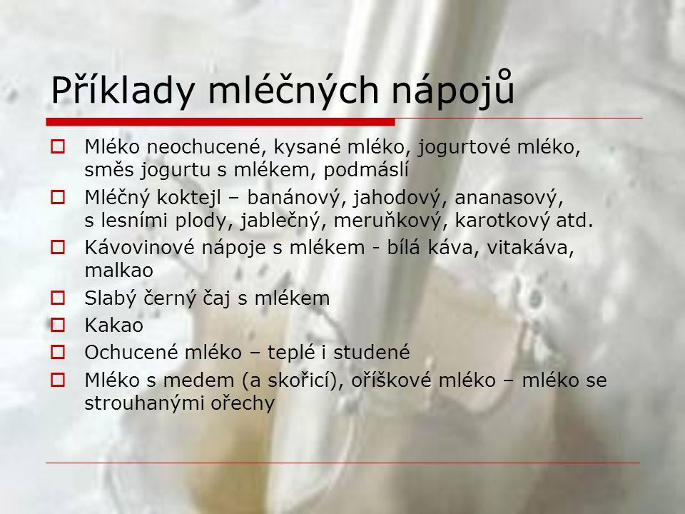 Příklady mléčných nápojů