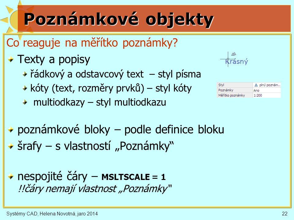 Poznámkové objekty Co reaguje na měřítko poznámky Texty a popisy