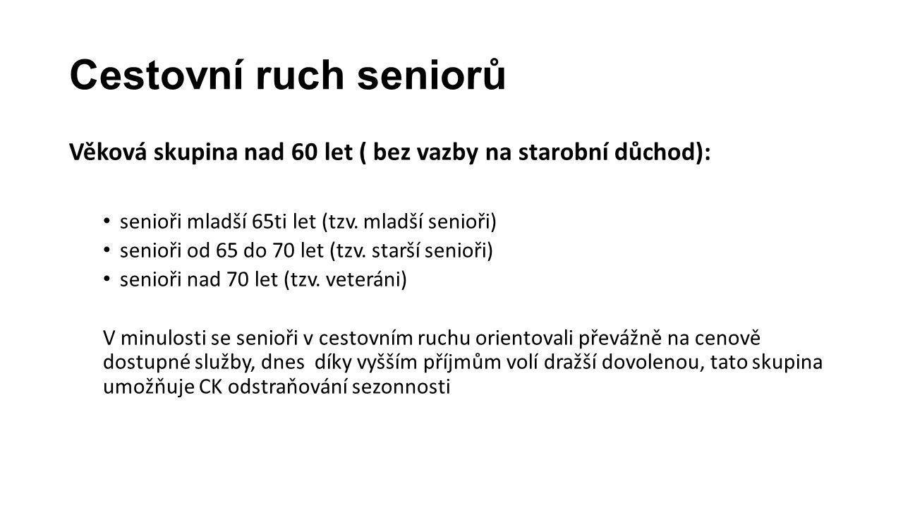 Cestovní ruch seniorů Věková skupina nad 60 let ( bez vazby na starobní důchod): senioři mladší 65ti let (tzv. mladší senioři)