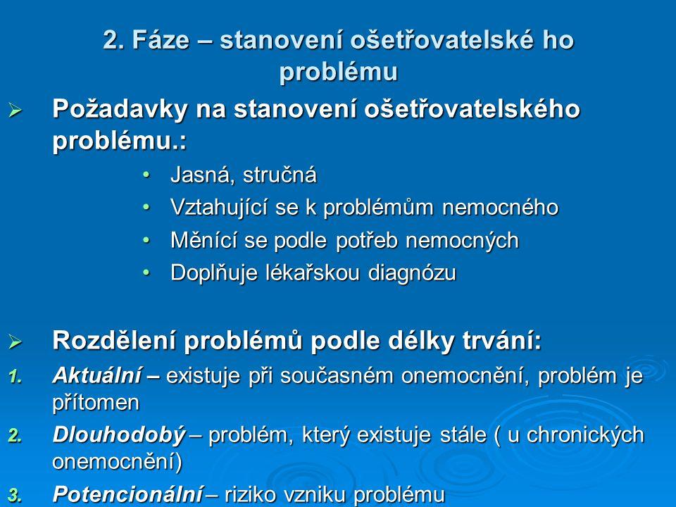 2. Fáze – stanovení ošetřovatelské ho problému