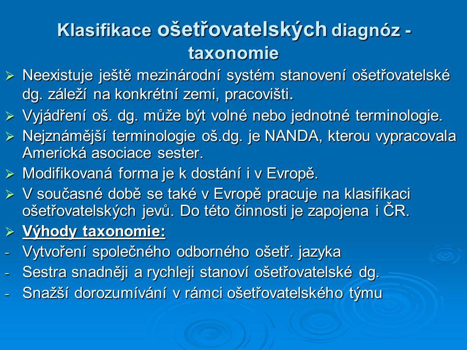 Klasifikace ošetřovatelských diagnóz - taxonomie