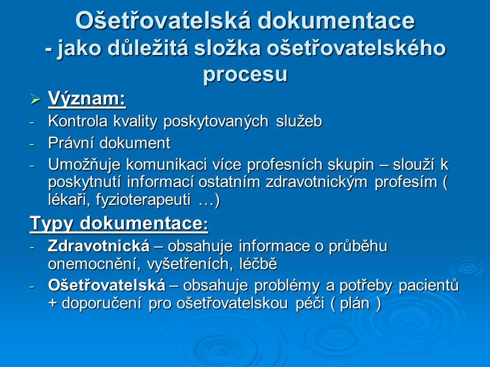 Ošetřovatelská dokumentace - jako důležitá složka ošetřovatelského procesu