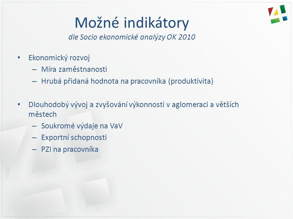 Možné indikátory dle Socio ekonomické analýzy OK 2010