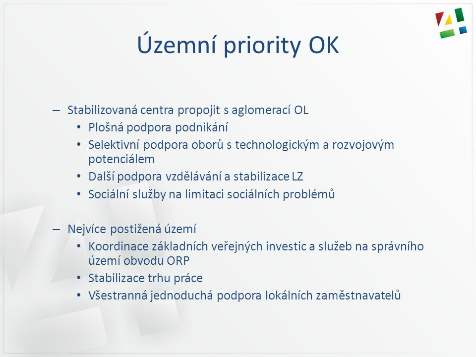 Územní priority OK Stabilizovaná centra propojit s aglomerací OL