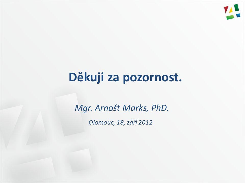 Děkuji za pozornost. Mgr. Arnošt Marks, PhD. Olomouc, 18, září 2012