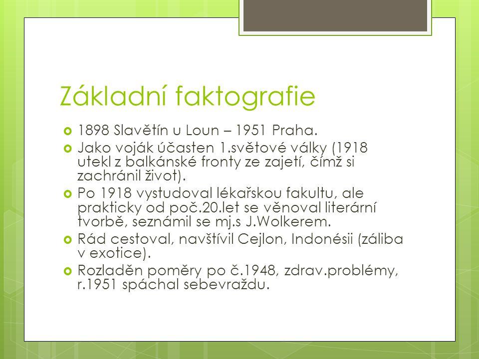 Základní faktografie 1898 Slavětín u Loun – 1951 Praha.
