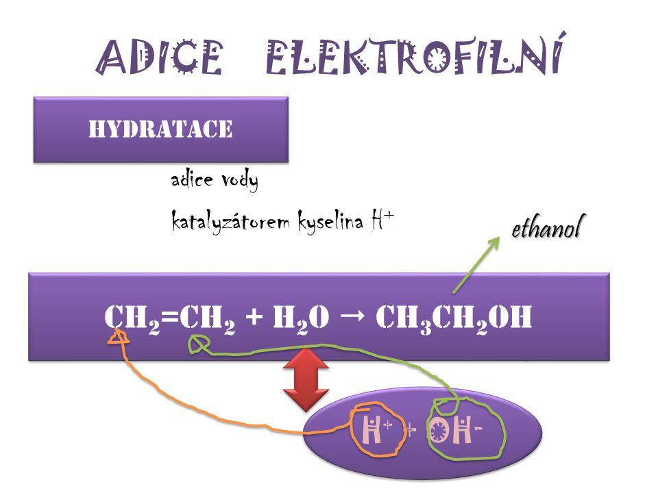ADICE ELEKTROFILNÍ Ch2=ch2 + h2o  ch3ch2oh H+ + OH- h_ _ _ _ _ _ _ e