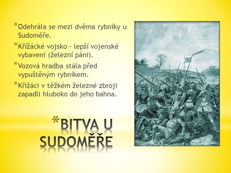 BITVA U SUDOMĚŘE Odehrála se mezi dvěma rybníky u Sudoměře.