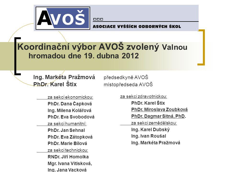 Koordinační výbor AVOŠ zvolený Valnou hromadou dne 19. dubna 2012