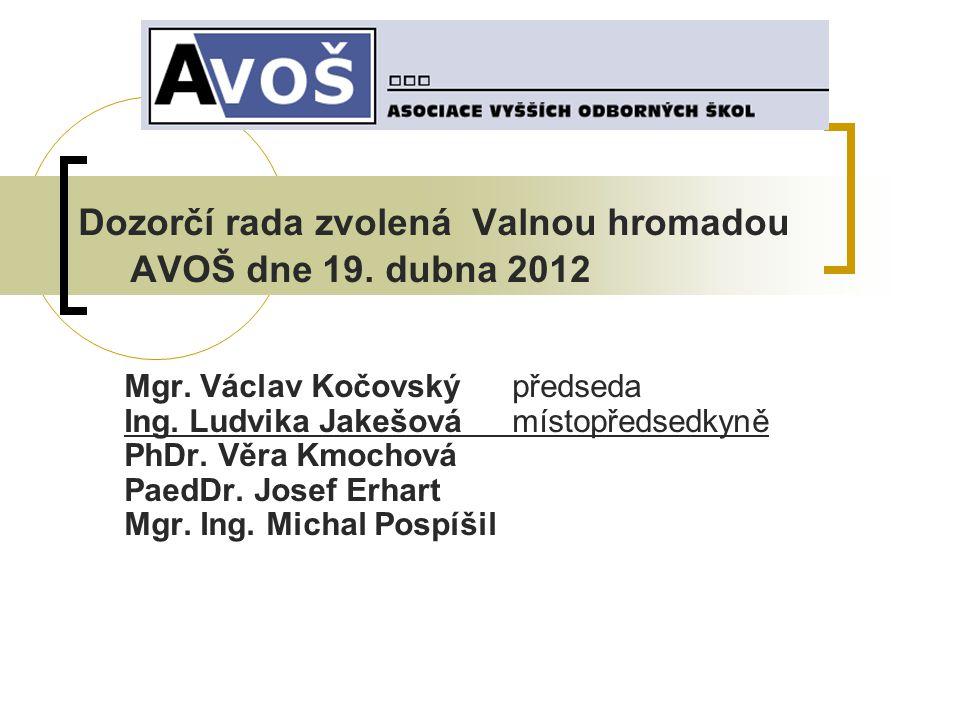 Dozorčí rada zvolená Valnou hromadou AVOŠ dne 19. dubna 2012