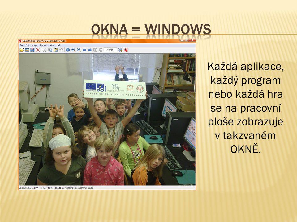 Okna = windows Každá aplikace, každý program nebo každá hra se na pracovní ploše zobrazuje v takzvaném OKNĚ.