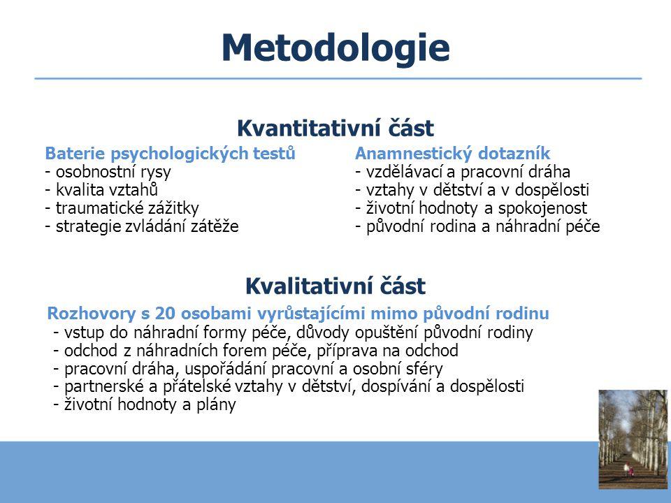 Metodologie Kvantitativní část Kvalitativní část