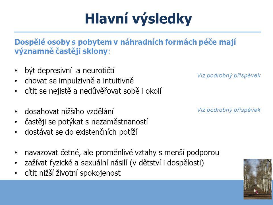Hlavní výsledky Dospělé osoby s pobytem v náhradních formách péče mají významně častěji sklony: být depresivní a neurotičtí.