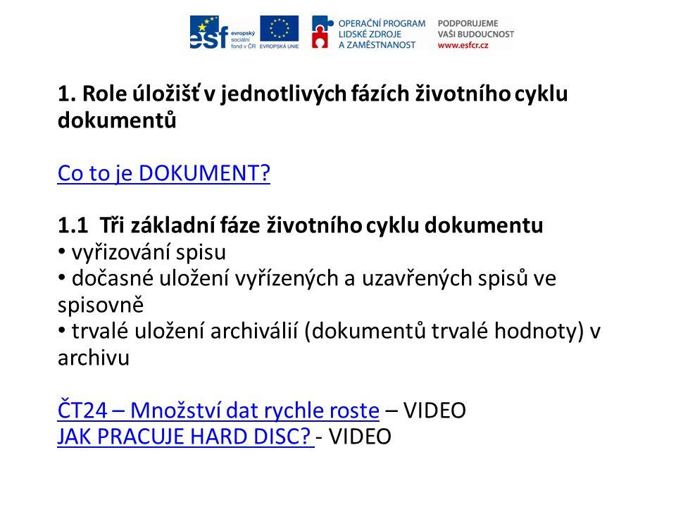1. Role úložišť v jednotlivých fázích životního cyklu dokumentů